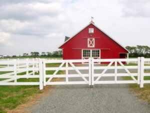 Red Barn with white fence