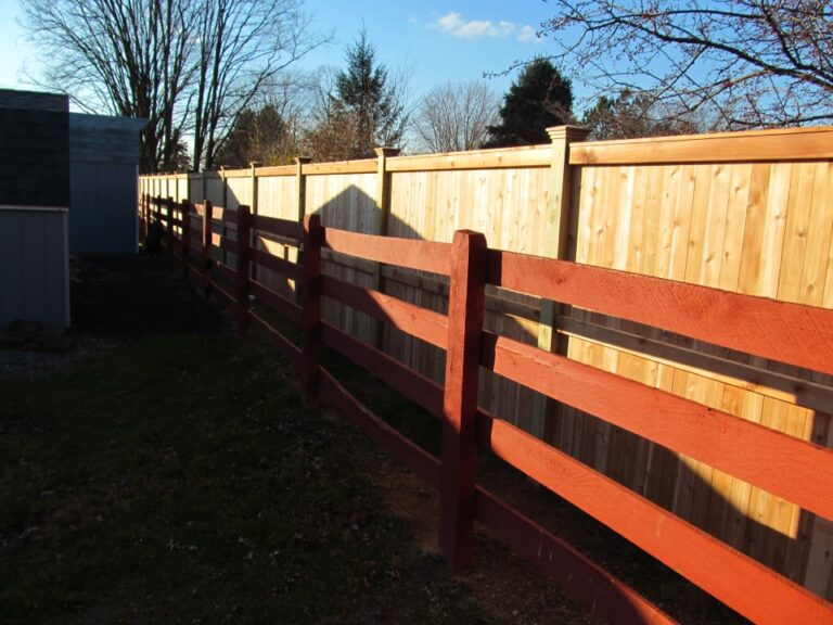 Wooden Panel and rail fence in foreground