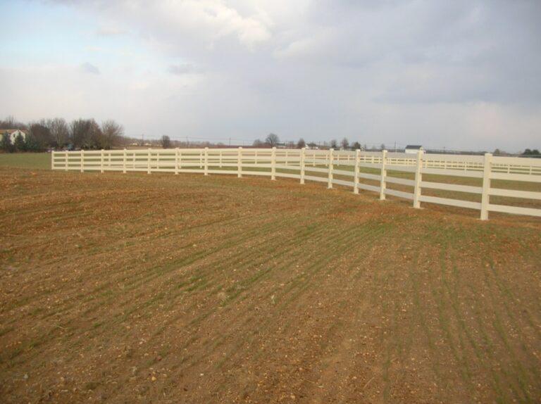 White Vinyl rail fence