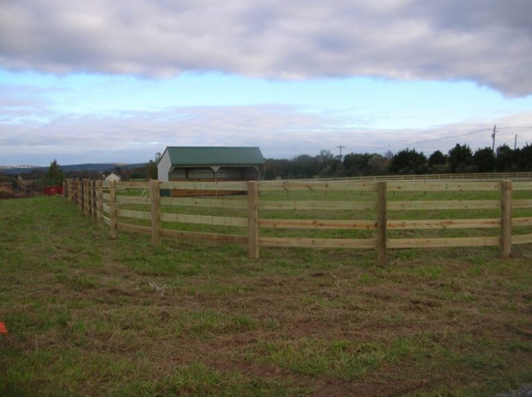 Run in shed with rail fence