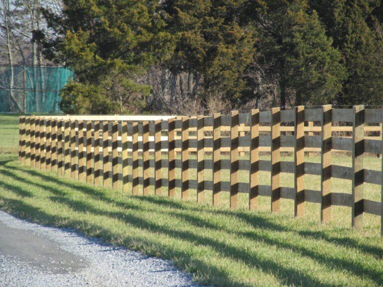 Close Heavy rail wood fence