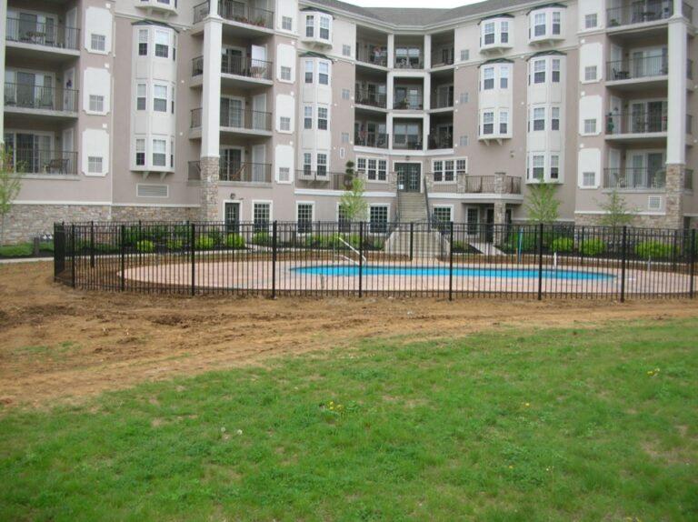 Pool in front of condominium