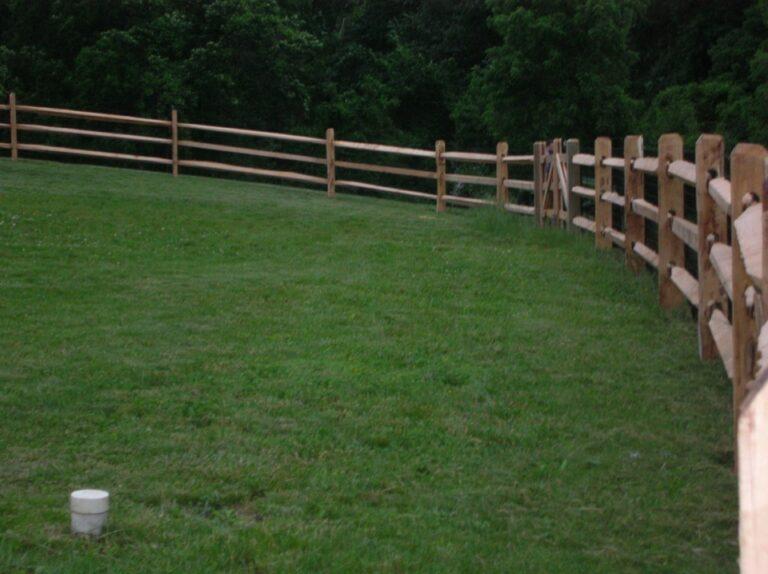 wooden Rail fence in meadow