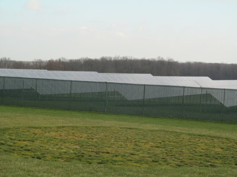 Panels surrounded by chain fence