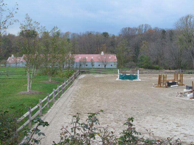 Barn with rail fence